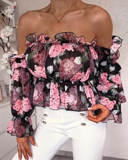 Floral Print Off Shoulder Ruffles Blouse