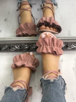 Solid Ruffles Strappy Peep Toe Flat Sandals