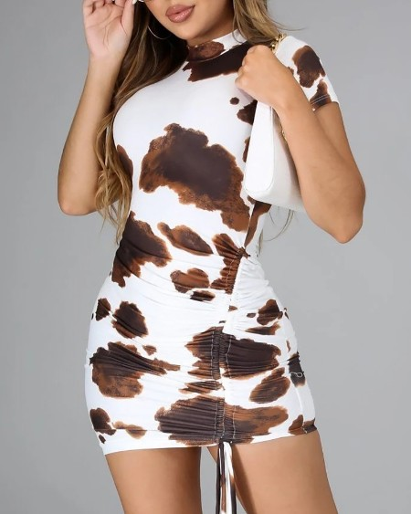 Cow Print Drawstring Ruched Bodycon Dress