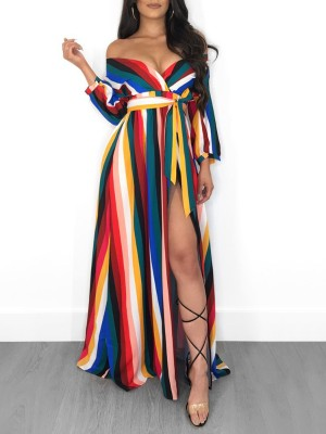 Colorful Stripes Off Shoulder High Slit Dress