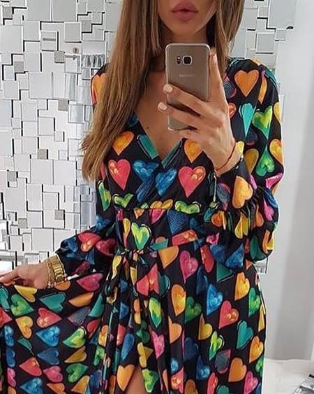 Colorful Heart Print V-Neck Slit Casual Dress