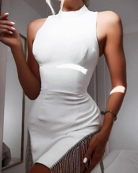 Studded Tassel Design Sleeve Bodycon Dress