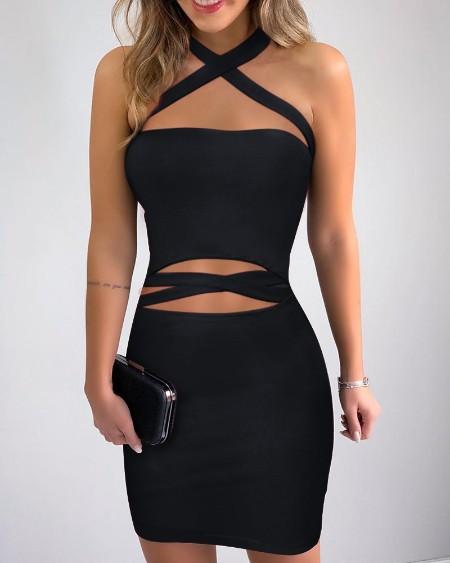 Crisscross Neck Cutout Bodycon Dress