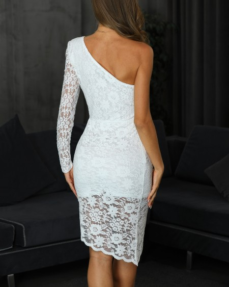 One Long Sleeve Overlap Lace Dress