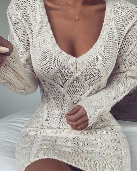 Cable Knit Hollow Out Long Sleeve Sweater Dress
