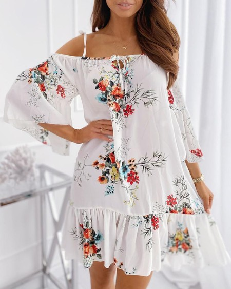 Floral Print Cold Shoulder Ruffles Ruched Dress