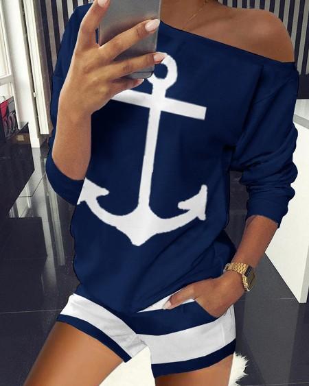 Boat Anchor Print Striped Top & Shorts Set