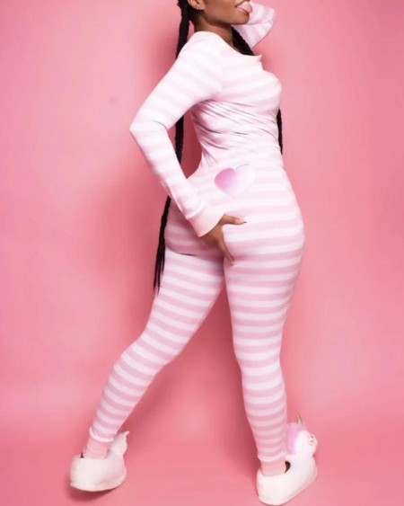 Striped Heart / Snowman Print Lounge Jumpsuit