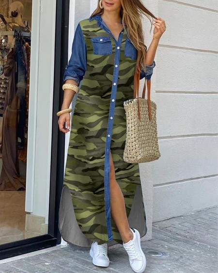 Camouflage Denim Dip Hem Slit Shirt Dress