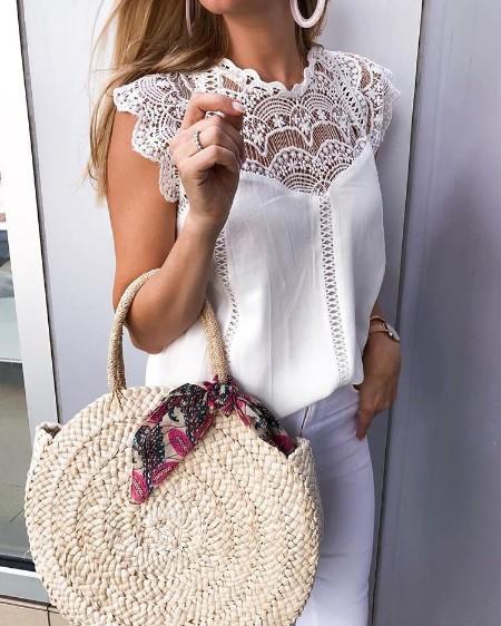 Crochet Lace Trim Splicing Casual Blouse