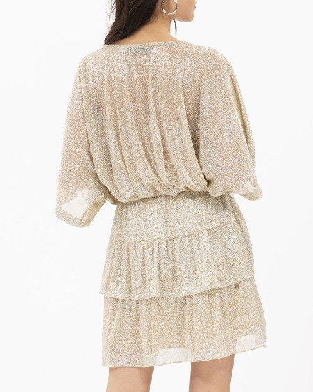 Glitter Plunge Batwing Sleeve Dress