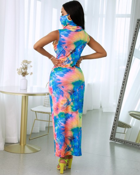 Tie Dye Print Sleeveless Maxi Dress With Face Cover