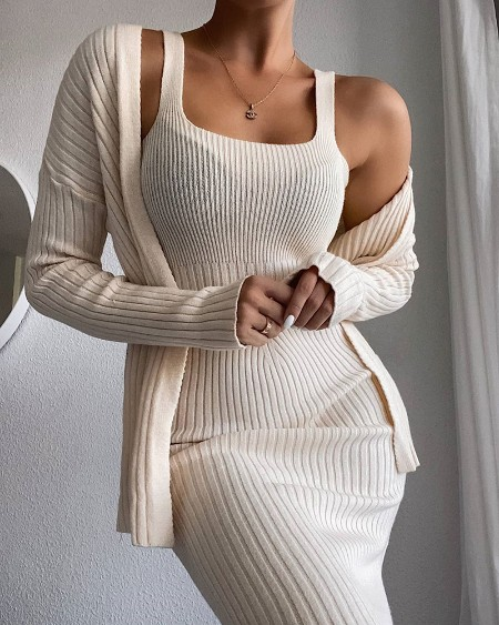 Solid Knit Maxi Dress & Long Sleeve Cardigan Set