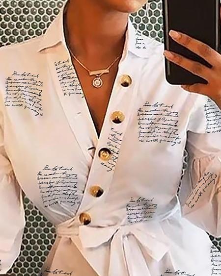 Lantern Sleeve Buttoned Surplice Wrap Printed Blouse
