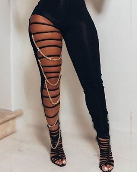 Sexy Hollow-out Chains Skinny Black One-piece Jumpsuit