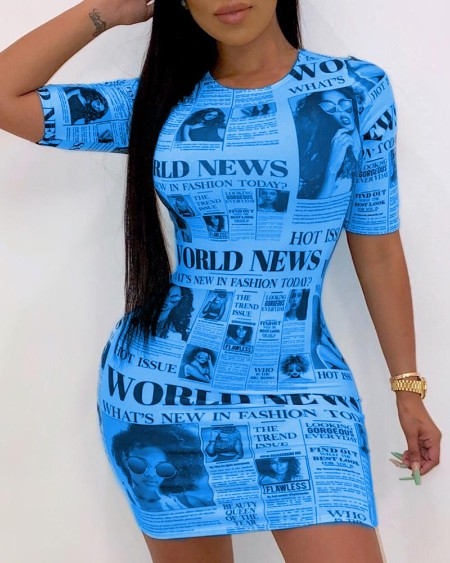 boutiquefeel / Short Sleeve Newspaper Pattern Bodycon Dress