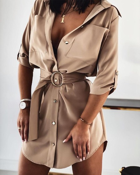 Ring Belt Shirt Dress