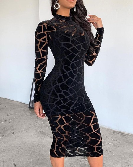 Crack Trim Mesh Midi Dress