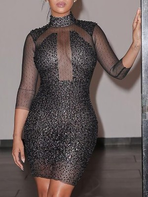 Sexy Irregular Patchwork Sequined Bodycon Dress