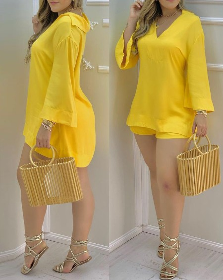 Plain Bell Sleeve V-Neck Top & Shorts Set
