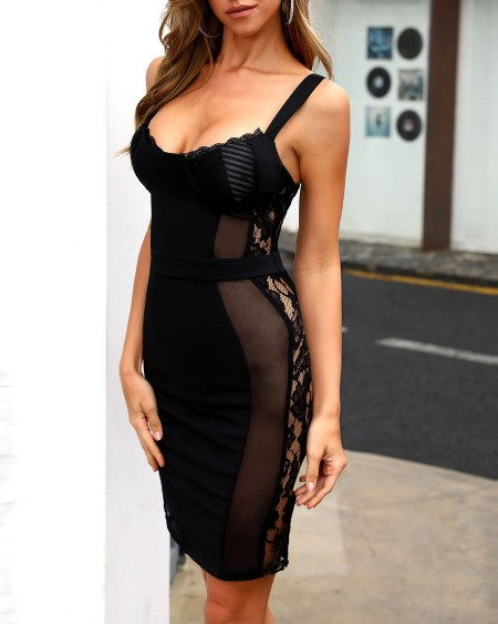 Spaghetti Strap Mesh Lace Insert Bodycon Dress