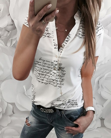 Letter Print Buttoned Short Sleeve Blouse