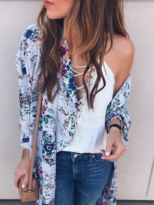 Stylish Open Front Floral Print Cardigan Coat