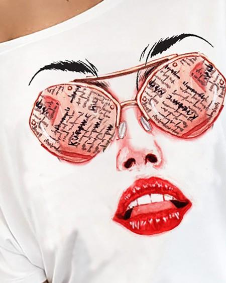 Figure Print Short Sleeve Casual T-shirt