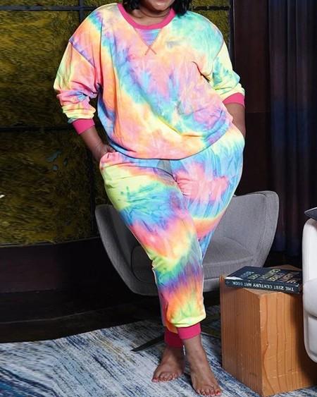 Plus Size Tie Dye / Cheetah Print Top & Pants Set