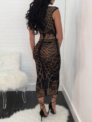 Glittering Appliqued Sleeveless Maxi Bodycon Dress