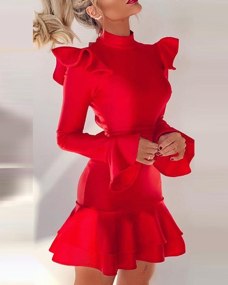Solid Backless Ruffle Long Sleeve Dress