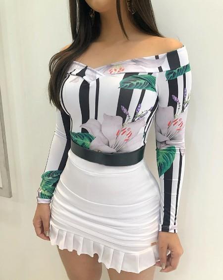 Off Shoulder Floral Print Top & Ruffles Skirt Set