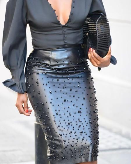 boutiquefeel / Beaded Faux Leather Zipper Slit Skirt