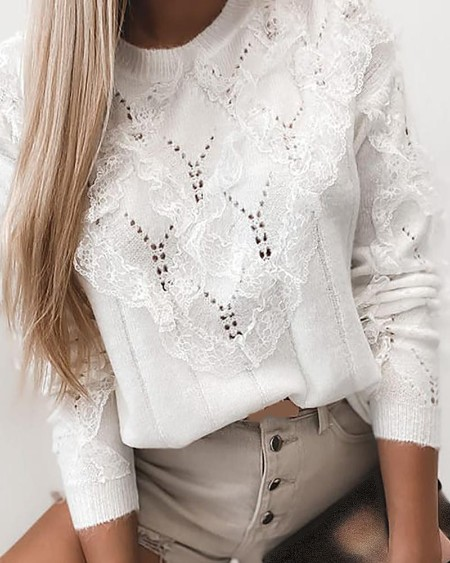 Lace Hollow Out Long Sleeve Casual Sweater