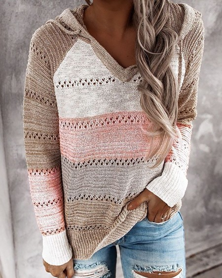 Knitted Colorblock Hollow Out Hooded Sweaters
