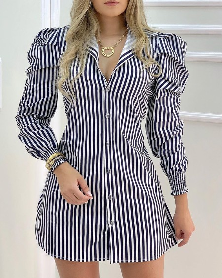 Striped Button Design Puffed Sleeve Shirt Dress