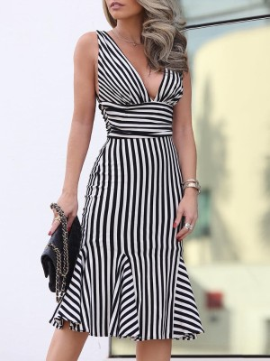 Fashion Striped Print Pep Hem Dress