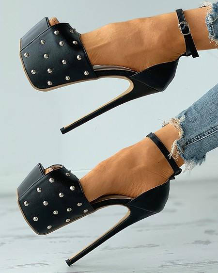 boutiquefeel / Rivet Peep Toe Ankle Strap Platform Stiletto Heels