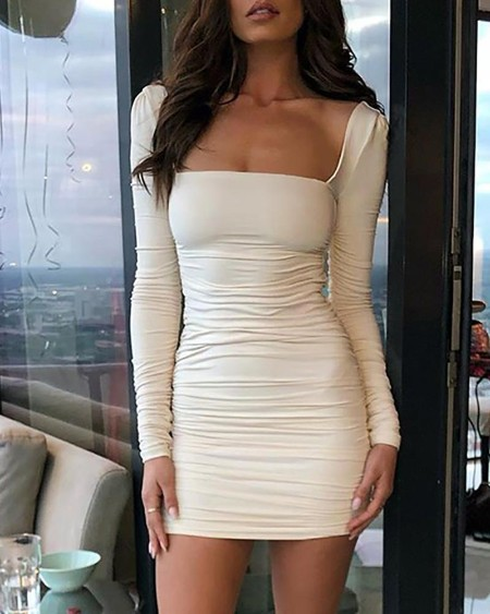 Square Neck Long Sleeve Ruched Dress