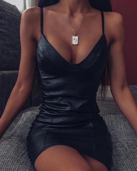 Faux Leather Bodycon Mini Dress