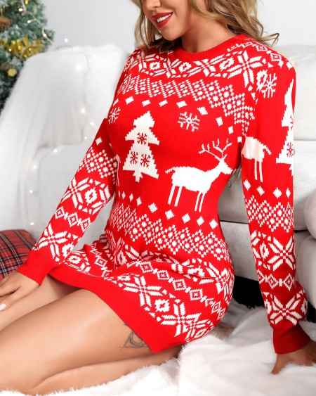 Christmas Reindeer Mixed Print Knit Long Sleeve Dress