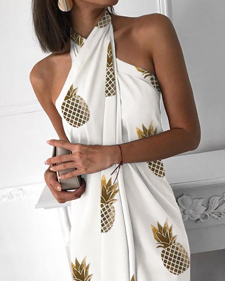 Pineapple Print Halter Sleeveless Ruched Design Dress