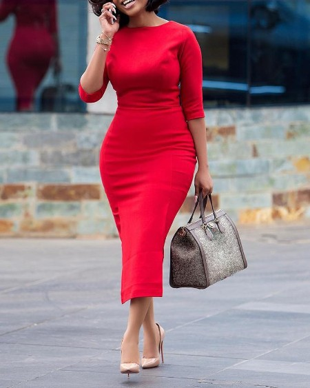 boutiquefeel / Solid Half Sleeve Midi Dress
