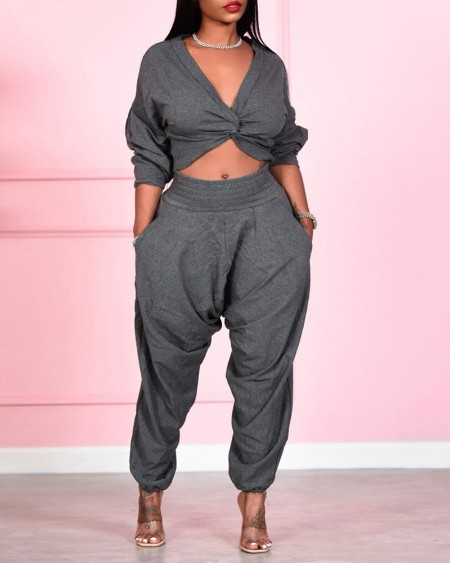 Plain Twisted Crop Top & Pocket Design Pants Set