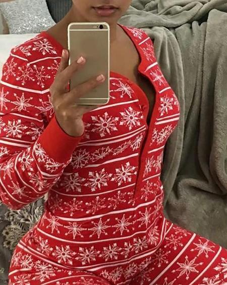 Christmas Snowflake Print Button Front Jumpsuit