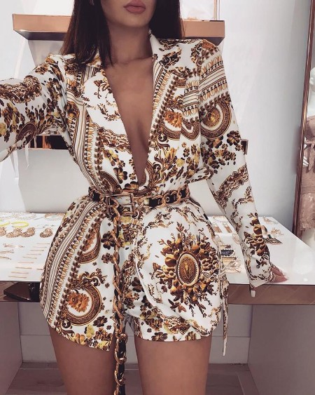 boutiquefeel / Plunge Colorful Print Long Sleeve Top & Shorts Sets
