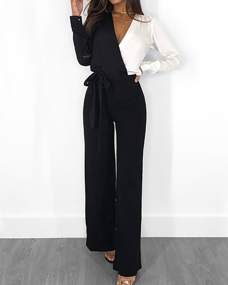 V Neck Colorblock Long Sleeve Belted Casual Jumpsuit