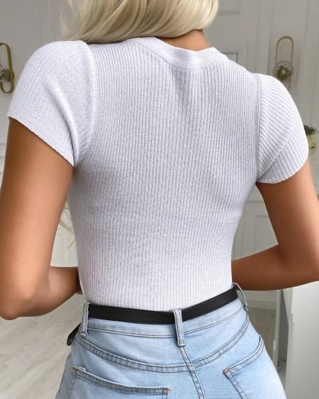 Beaded Cutout Short Sleeve Knit Top