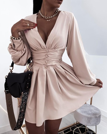 Buttoned Ruched Long Sleeve Casual Dress