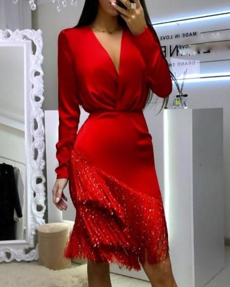 Plain Wrap Tassel Design Long Sleeve Dress